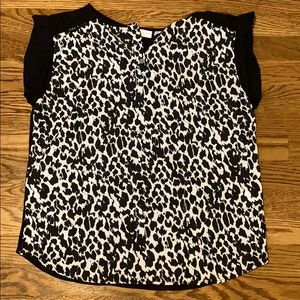 Black cheetah print blouse